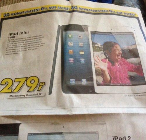 """(Lokal) Euronics """"Oberschwaben"""" iPad Mini 16GB für 279,-"""