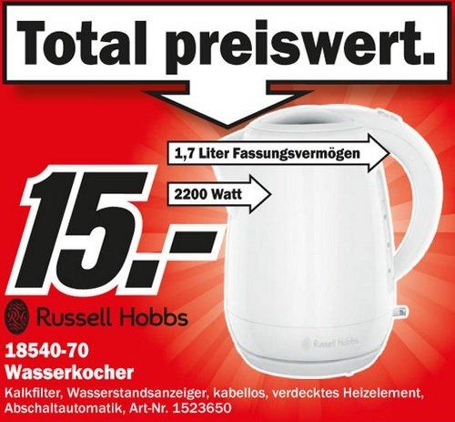 Russell Hobbs 18540 Wasserkocher 2200Watt im Mediamarkt Aalen für 15 Euro