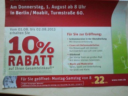 [Lokal Berlin] Rewe 10% auf das gesamte Sortiment