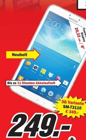 Galaxy Tab 3  8 Zoll + WiFi +16GB in Weiß im Mediamarkt Stuttgart City für 249 Euro und 3G Version 349 Euro