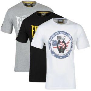 Everlast Men's 3-Pack Graphic T-Shirts - White/Black/Grey Marl für 12,39€ bei zavvi.com
