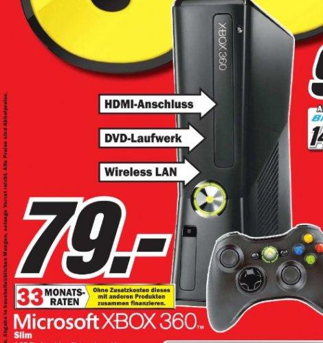 Microsoft XBOX 360 Slim 4GB  + Wireless Controller im Mediamarkt Ingolstadt für 79 Euro