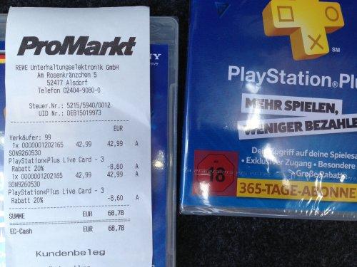 Promarkt 20% Aktion [Anmerkung] PSN Cards / PS+ Abonnement -> 34,39€