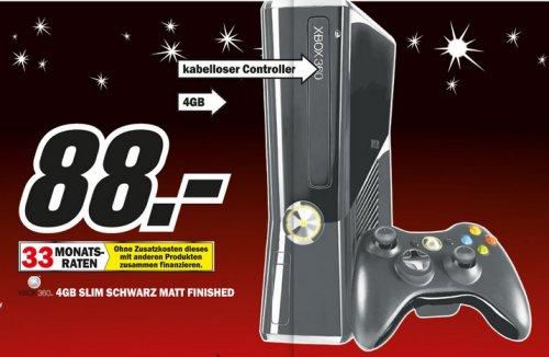 Microsoft XBOX 360 Slim 4GB  + Wireless Controller jetzt im Mediamarkt Baden Baden für 88 Euro