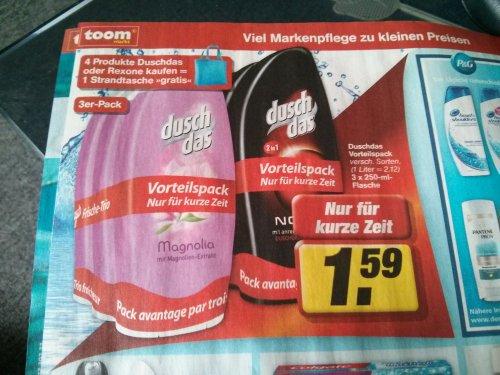 [Lokal RheinMain evtl. bundesweit ?], Toom Markt 3erDuschDas 1.59€