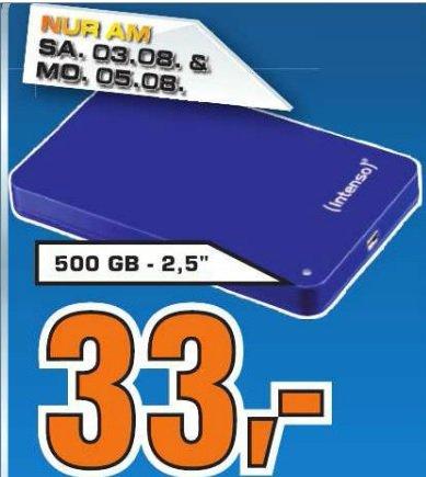 Intenso Memory Case 500GB 2.5 Zoll USB 3.0 externe Festplatte für 33 Euro am 05.08 im Saturn  Köln