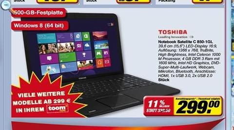 [toom offline] Toshiba Satellite Notebook C 850-1GL, Win8, 299,-