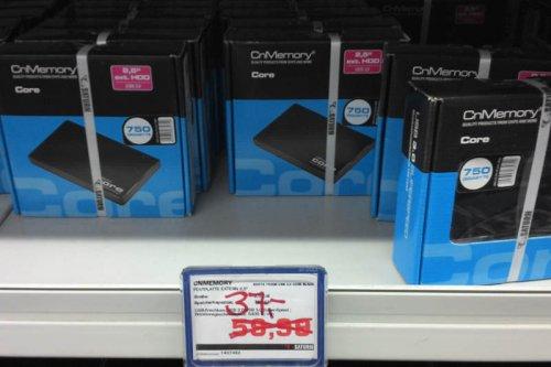 """CnMemory 2,5"""" Core USB 3.0 HDD 750 GB für 37€ Saturn Berlin Gesundbrunnen"""
