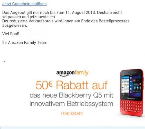 Blackberry Q5 je nach Farbe ab 296,68€ mit 50€ Amazon Family Gutschein (GS kann bis zum 8. August jeder erhalten)