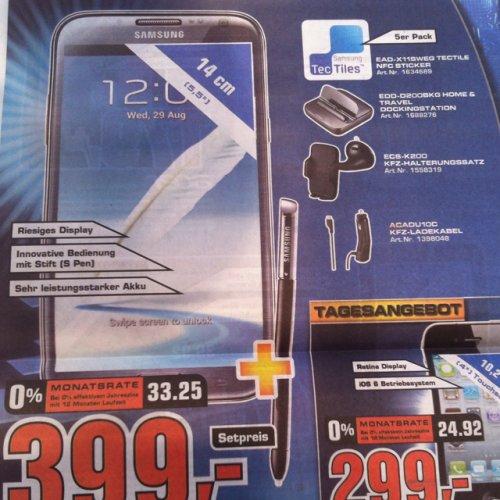 [Saturn Stuttgart lokal] Samsung Galaxy Note 2 + Home&Travel Dockingstation + KFZ-Halterung + KFZ-Ladekabel + Tectile NFC Sticker für 399€