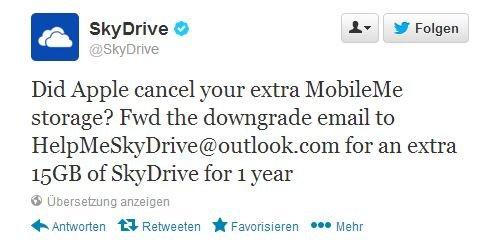 [SkyDrive] 1 Jahr 15 GB Speicher für ehemalige MobileME Kunden.