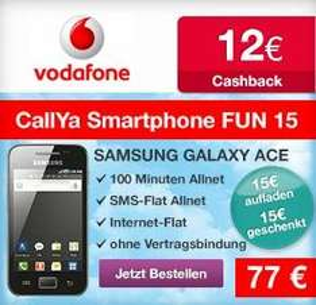 Samsung Galaxy Ace für 77€ im Prepaid-Bundle bei Vodafone+ 12€ Cashback