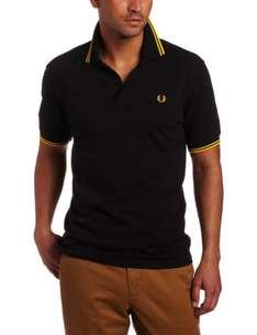 FRED-PERRY Polo Shirt Pique Slim in black-yellow für nur 34,90 EUR inkl. Versand