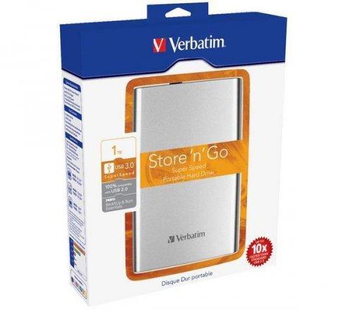 VERBATIM Externe, tragbare Festplatte 2,5 Store 'n' Go - 1 TB, Silber