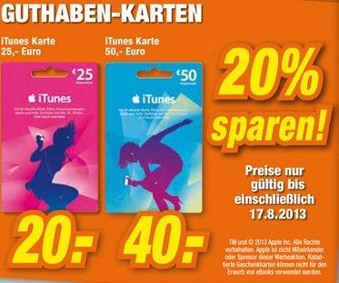 20% auf iTunes Karten 25er für 20 Euro und 50er für 40 Euro im Expert Goslar