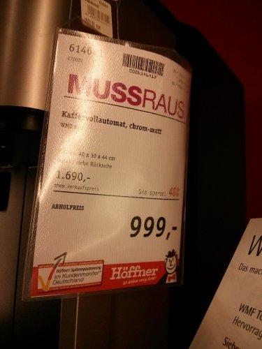 [Offline] Kaffeevollautomaten WMF 500 (799,-) - WMF 800 (999,-) - WMF Baldessarini (999,-) @ Möbel Höffner