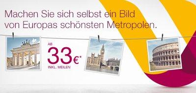 Germanwings One-Way-Flüge ab 33 EUR inkl. Steuern und Gebühren