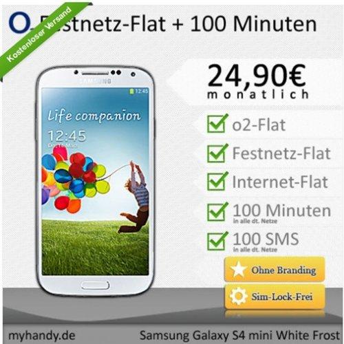 Samsung Galaxy S4 mini weiß mit o2 Flat Internet 500 MB /Festnetz Flat/Internet Flat + 100 Min und SMS