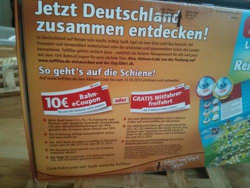 10€ Bahn Gutschein beim Kauf von der 48 Toffifeepackung