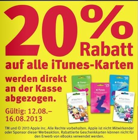 20% auf alle iTunes Karten (Rossmann)