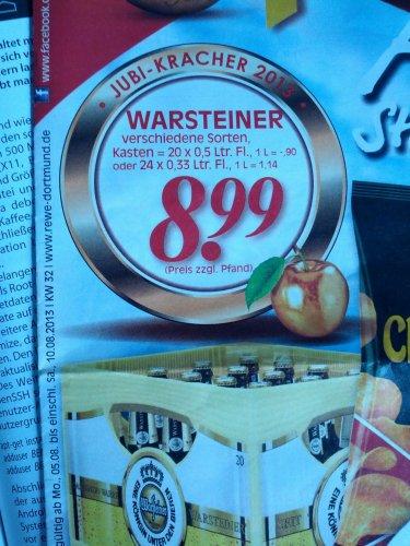 Kasten Warsteiner (20 o. 24) für 8.99+Pfand - REWE Marl - nur noch heute
