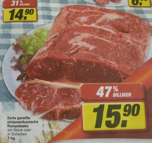 T-Bone-Steaks für 14,90/Kg Südamerikanische Rumpsteaks für 15,90/Kg im Toom Markt