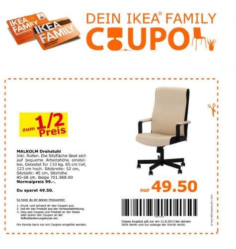 IKEA Berlin/Brdg -> Schreitischsessel Malkholm für 49,50 €/ Ikea Family