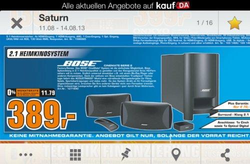 Bose Cinemate II für 389!!!! Saturn MOERS!