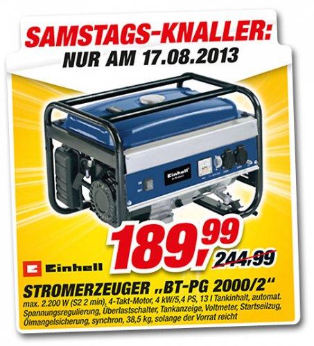TOOM SAMSTAGS-KNALLER  Einhell Stromerzeuger BT-PG 2000 Dauerleistung: 2000 W
