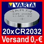 [ebay] Varta CR2032 Lithium Knopfzelle 3V *20 Stück*
