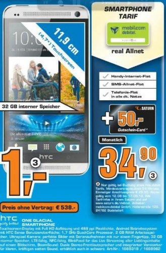 [SATURN AACHEN] Telekom ALLNET Flat inkl. HTC One für 1€ + 50€ Saturn Gutschein für monatl. 34,90€