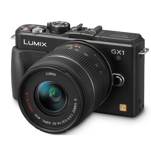 Panasonic Lumix DMC-GX1K Systemkamera (16 Megapixel, 7,5 cm (3 Zoll) Touchscreen, LiveView ) schwarz mit Lumix G Vario 14-42mm Objektiv  inkl. Vsk für 364 € [AMAZON.FR]