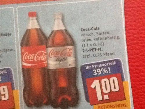 Coca Cola bei Rewe 2 Liter 1€