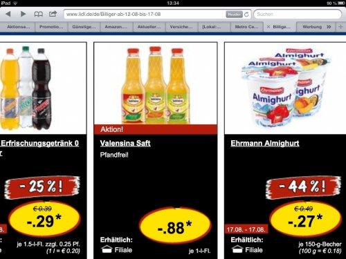 Valensina Saft am Samstag 17.08.13 bei Lidl 0,88€
