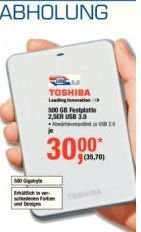 Toshiba  2.5 Zoll - Festplatte USB 3.0 - 500GB bei Metro Berlin 15.-28.8.