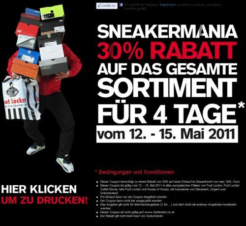 Foot-Locker-Coupon zum Ausdrucken für 30 Prozent Rabatt in allen Filialen vom 12. bis zum 15. Mai 2011
