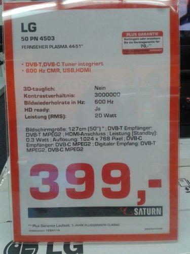 Lokal: Saturn Moers LG 50PN4503 für 399,-