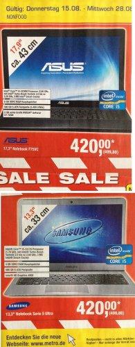 "[METRO] Notebooks - Samsung 13,3"" 530U3C (?) mit  i5-3317U und HD 4000 oder ASUS F75VC 17,3"" i5-3230M , NVIDIA GeForce GT 720M"