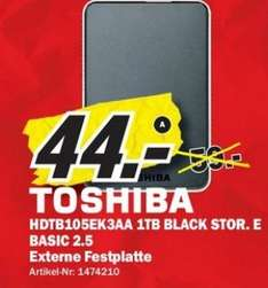 1TB Toshiba Store Basics 2.5 Zoll USB 3.0 Festplatte im Mediamarkt Erlangen für 44 Euro