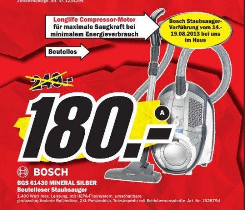 Beutelloser Staubsauger Bosch BGS 61430 Testsieger Stiwa 4-11 180€ MM-Porta Westfalica