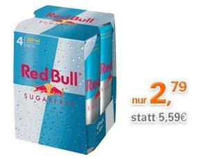 Red Bull Sugarfree 4 x 0,25l für 2,79 € (+ Pfand) bei Allyouneed.com