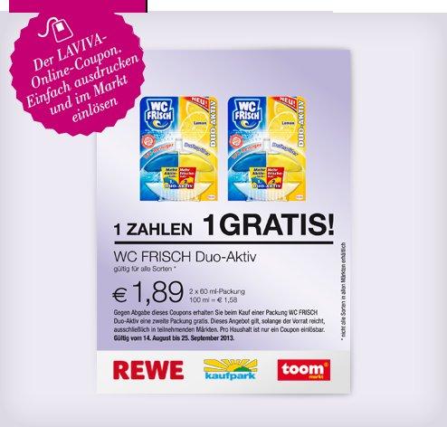 [REWE/Toom/Kaufpark] 2x  WC Frisch Duo Aktiv für 1,89€ mit (downloadbaren) Laviva Coupon