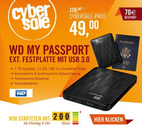 1TB Western Digital My Passport USB 3.0 schwarz @ Cyberport Cybersale ab 09.00 Uhr für 49,00 EUR