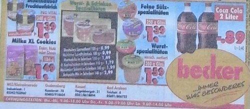----LOKAL  --- 2 Liter Coca Cola 0,89 Cent Literpreis 0,445 Cent