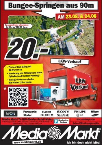 Bungee Jumping aus 90 Meter Höhe beim Media Markt Mainz am 23.8 und 24.8 für 20 Euro