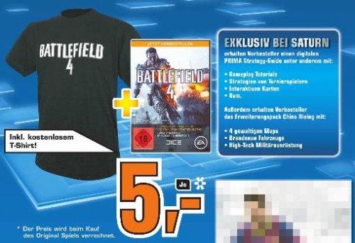 [Köln] @ Saturn: Battlefield 4 Vorbestellung + T-Shirt + DVD-Hülle für 5,- €*