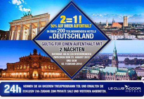Accor Hotels: Private Sale mit  50% Rabatt an den Wochenende (gültig 23.08.2013 - 02.02.2014)