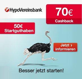 120€ Gewinn: HypoVereinsbank gratis Girokonto mit 50€ SGH + 70€ Cashback