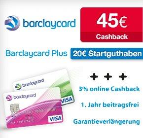 Barclaycard Plus: Kreditkarte mit 3 % Cashback auf Online-Shopping + 20€ Startguthaben + 45€ QIPU + 1 Jahr kostenlos