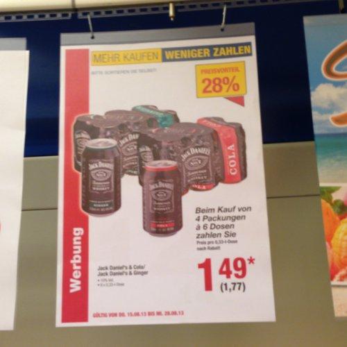 Jack Daniels&Cola 1.77€ bei 4 Pack Lokal Metro Mannheim